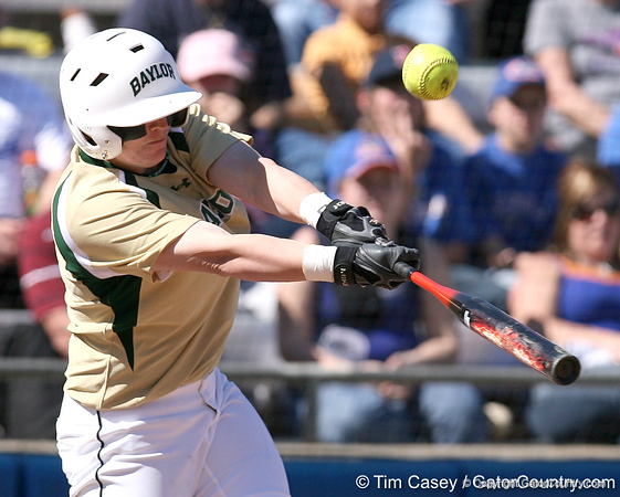 photo by Tim Casey<br /> <br /> Baylor senior Brette Reagan fouls out to third base during the fourth inning of the Gators' 1-0 loss to the Baylor Bears on Sunday, February 8, 2009 at Katie Seashole Pressly Softball Stadium in Gainesville, Fla.
