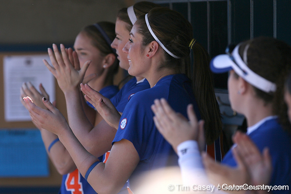 photo by Tim Casey<br /> <br /> Florida junior left fielder Francesca Enea cheers in the dugout during the fifth inning of the Gators' 1-0 loss to the Baylor Bears on Sunday, February 8, 2009 at Katie Seashole Pressly Softball Stadium in Gainesville, Fla.