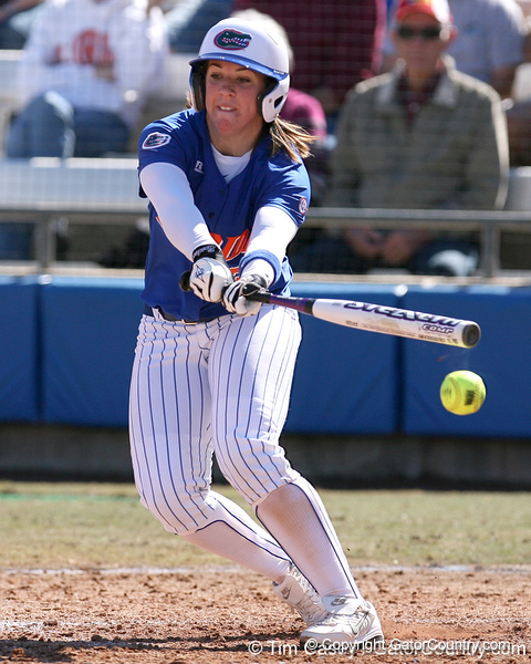 photo by Tim Casey<br /> <br /> Florida senior catcher Kristina Hilberth swings at a pitch during the fifth inning of the Gators' 1-0 loss to the Baylor Bears on Sunday, February 8, 2009 at Katie Seashole Pressly Softball Stadium in Gainesville, Fla.