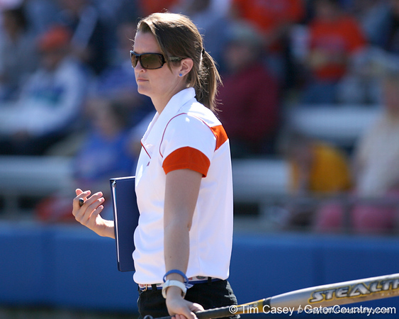 photo by Tim Casey<br /> <br /> Florida student coach Mary Ratliff talks with a player during the fifth inning of the Gators' 1-0 loss to the Baylor Bears on Sunday, February 8, 2009 at Katie Seashole Pressly Softball Stadium in Gainesville, Fla.