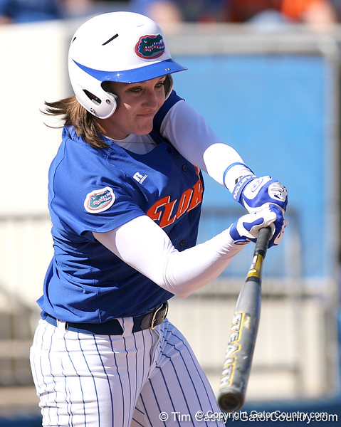 photo by Tim Casey<br /> <br /> Florida junior third baseman Corrie Brooks grounds out to second base during the seventh inning of the Gators' 1-0 loss to the Baylor Bears on Sunday, February 8, 2009 at Katie Seashole Pressly Softball Stadium in Gainesville, Fla.