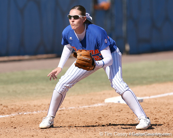 photo by Tim Casey<br /> <br /> Florida junior third baseman Corrie Brooks watches the batter during the seventh inning of the Gators' 1-0 loss to the Baylor Bears on Sunday, February 8, 2009 at Katie Seashole Pressly Softball Stadium in Gainesville, Fla.