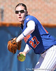 photo by Tim Casey<br /> <br /> Florida junior third baseman Corrie Brooks throws out a runner at first base during the third inning of the Gators' 1-0 loss to the Baylor Bears on Sunday, February 8, 2009 at Katie Seashole Pressly Softball Stadium in Gainesville, Fla.
