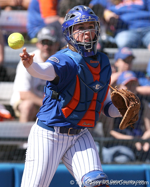 photo by Tim Casey<br /> <br /> Florida senior catcher Kristina Hilberth throws the ball around the horn after a strikeout during the third inning of the Gators' 1-0 loss to the Baylor Bears on Sunday, February 8, 2009 at Katie Seashole Pressly Softball Stadium in Gainesville, Fla.