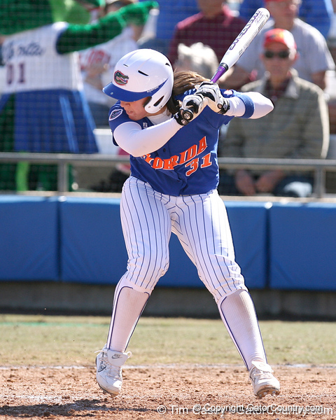 photo by Tim Casey<br /> <br /> Florida senior catcher Kristina Hilberth strikes out during the fifth inning of the Gators' 1-0 loss to the Baylor Bears on Sunday, February 8, 2009 at Katie Seashole Pressly Softball Stadium in Gainesville, Fla.