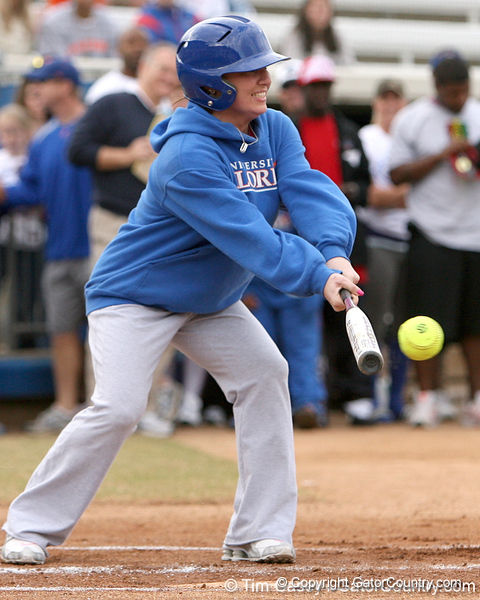 photo by Tim Casey<br /> <br /> Florida gymnastics alumna Nicola Willis bats during the Gator softball team's Swinging for Cancer event on Sunday, February 1, 2009 at Katie Seashole Pressly Softball Stadium in Gainesville, Fla.