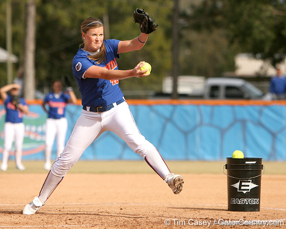 photo by Tim Casey<br /> <br /> Florida senior Stacey Nelson pitches during the Gator softball team's Swinging for Cancer event on Sunday, February 1, 2009 at Katie Seashole Pressly Softball Stadium in Gainesville, Fla.