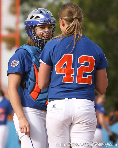 photo by Tim Casey<br /> <br /> Florida seniors Kristina Hilberth and Stacey Nelson talk during the Gator softball team's Swinging for Cancer event on Sunday, February 1, 2009 at Katie Seashole Pressly Softball Stadium in Gainesville, Fla.
