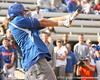 photo by Tim Casey<br /> <br /> Florida baseball junior Matt den Dekker bats during the Gator softball team's Swinging for Cancer event on Sunday, February 1, 2009 at Katie Seashole Pressly Softball Stadium in Gainesville, Fla.