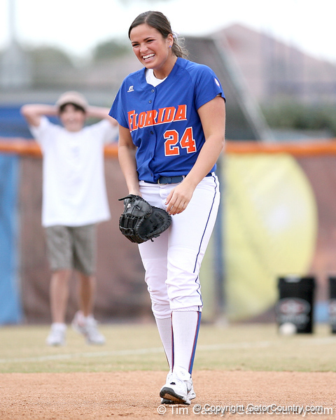 photo by Tim Casey<br /> <br /> Florida senior Ali Gardiner laughs during the Gator softball team's Swinging for Cancer event on Sunday, February 1, 2009 at Katie Seashole Pressly Softball Stadium in Gainesville, Fla.