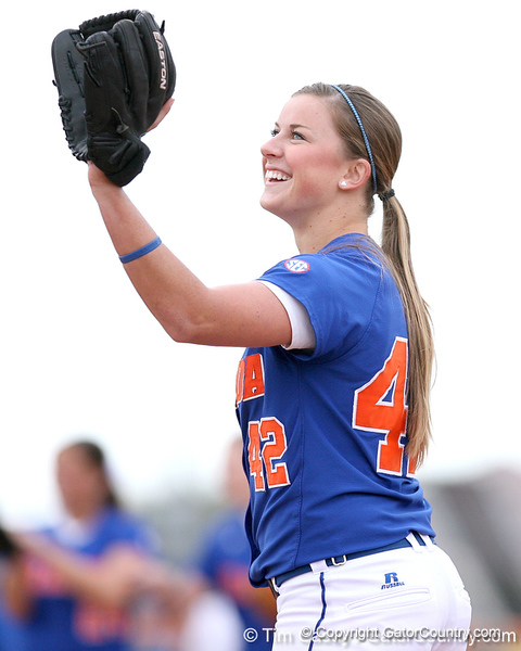photo by Tim Casey<br /> <br /> Florida senior Stacey Nelson smiles during the Gator softball team's Swinging for Cancer event on Sunday, February 1, 2009 at Katie Seashole Pressly Softball Stadium in Gainesville, Fla.