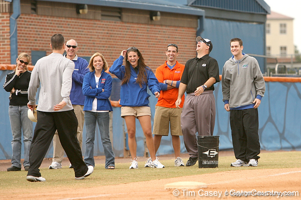 photo by Tim Casey<br /> <br /> Florida coach Tim Walton laughs during the Gator softball team's Swinging for Cancer event on Sunday, February 1, 2009 at Katie Seashole Pressly Softball Stadium in Gainesville, Fla.