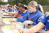 photo by Tim Casey<br /> <br /> Florida sophomore Kristine Priebe and senior Le-Net Franklin autograph posters during the Gator softball team's Swinging for Cancer event on Sunday, February 1, 2009 at Katie Seashole Pressly Softball Stadium in Gainesville, Fla.