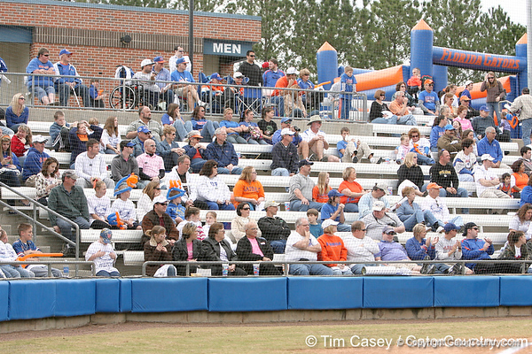 photo by Tim Casey<br /> <br /> Florida fans watch during the Gator softball team's Swinging for Cancer event on Sunday, February 1, 2009 at Katie Seashole Pressly Softball Stadium in Gainesville, Fla.
