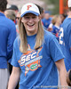 photo by Tim Casey<br /> <br /> Florida soccer alumna KeLeigh Hudson laughs during the Gator softball team's Swinging for Cancer event on Sunday, February 1, 2009 at Katie Seashole Pressly Softball Stadium in Gainesville, Fla.