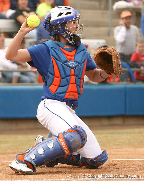 photo by Tim Casey<br /> <br /> Florida senior Kristina Hilberth throws a ball during the Gator softball team's Swinging for Cancer event on Sunday, February 1, 2009 at Katie Seashole Pressly Softball Stadium in Gainesville, Fla.