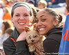 photo by Tim Casey<br /> <br /> Florida soccer alumnae Liz Ruberry and Ashlee Elliott watch during the Gator softball team's Swinging for Cancer event on Sunday, February 1, 2009 at Katie Seashole Pressly Softball Stadium in Gainesville, Fla.
