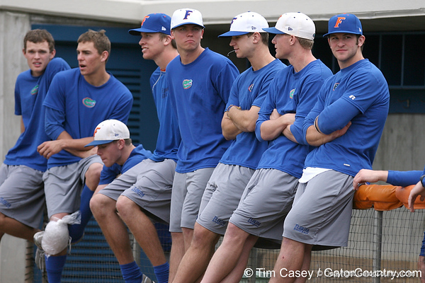photo by Tim Casey<br /> <br /> Members of the Florida baseball team watch during the Gator softball team's Swinging for Cancer event on Sunday, February 1, 2009 at Katie Seashole Pressly Softball Stadium in Gainesville, Fla.