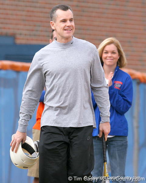 photo by Tim Casey<br /> <br /> Florida men's basketball head coach Billy Donovan jokes with Stacey Nelson during the Gator softball team's Swinging for Cancer event on Sunday, February 1, 2009 at Katie Seashole Pressly Softball Stadium in Gainesville, Fla.