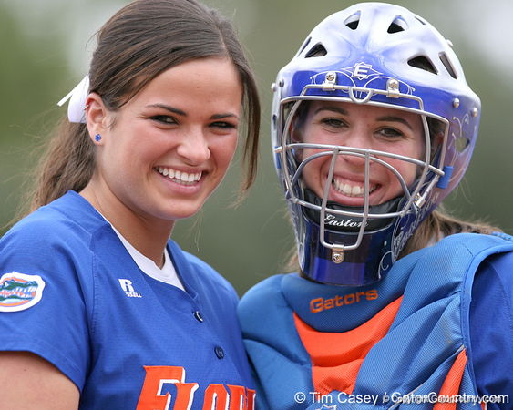 photo by Tim Casey<br /> <br /> Seniors Ali Gardiner and Kristina Hilberth pose for a photo during the Gator softball team's Swinging for Cancer event on Sunday, February 1, 2009 at Katie Seashole Pressly Softball Stadium in Gainesville, Fla.