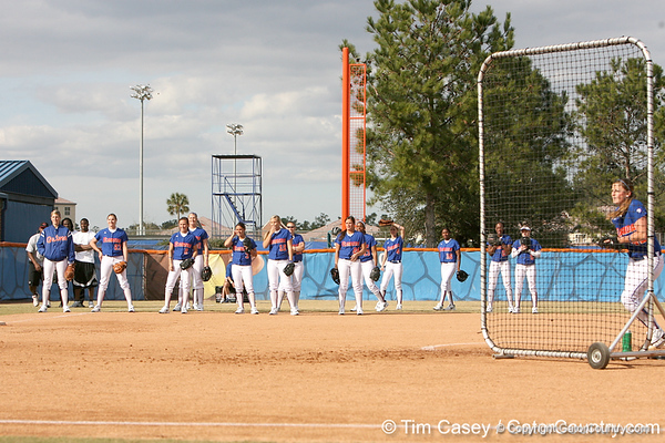 photo by Tim Casey<br /> <br /> Florida players line up in anticipation of baseball head coach Kevin O'Sullivan to pull the ball during the Gator softball team's Swinging for Cancer event on Sunday, February 1, 2009 at Katie Seashole Pressly Softball Stadium in Gainesville, Fla.