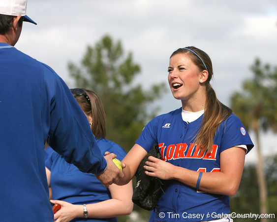photo by Tim Casey<br /> <br /> Florida senior Stacey Nelson talks with Matt den Dekker during the Gator softball team's Swinging for Cancer event on Sunday, February 1, 2009 at Katie Seashole Pressly Softball Stadium in Gainesville, Fla.