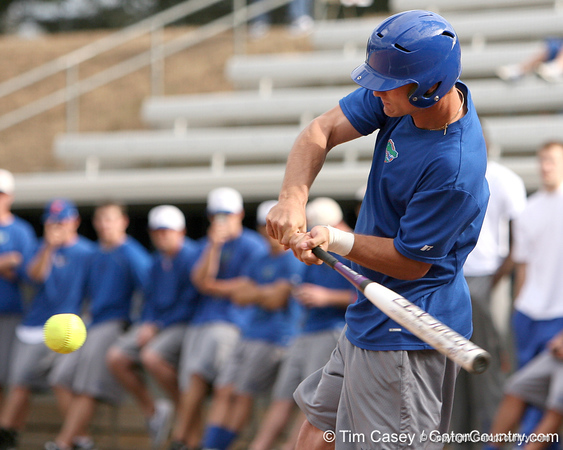 photo by Tim Casey<br /> <br /> Florida baseball senior Avery Barnes bats during the Gator softball team's Swinging for Cancer event on Sunday, February 1, 2009 at Katie Seashole Pressly Softball Stadium in Gainesville, Fla.