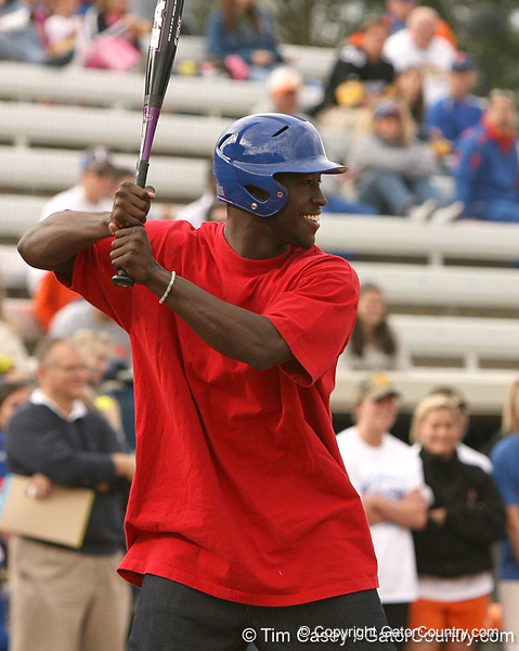 photo by Tim Casey<br /> <br /> Florida rising junior safety Ahmad Black bats during the Gator softball team's Swinging for Cancer event on Sunday, February 1, 2009 at Katie Seashole Pressly Softball Stadium in Gainesville, Fla.