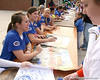 photo by Tim Casey<br /> <br /> Florida seniors Kristina Hilberth and Brooke Johnson talk to fans during the Gator softball team's Swinging for Cancer event on Sunday, February 1, 2009 at Katie Seashole Pressly Softball Stadium in Gainesville, Fla.