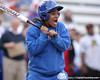 photo by Tim Casey<br /> <br /> Florida gymnast Melanie Sinclair reacts after seeing a pitch during the Gator softball team's Swinging for Cancer event on Sunday, February 1, 2009 at Katie Seashole Pressly Softball Stadium in Gainesville, Fla.