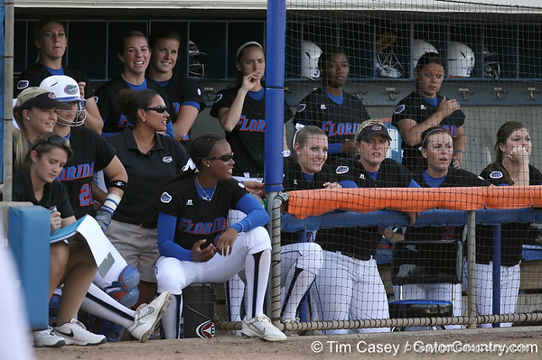 photo by Tim Casey<br /> <br /> Florida players cheer from the dugout during the first inning of the Gators' 10-5 win against the Pacific Tigers on Friday, February 27, 2009 at Katie Seashole Pressly Softball Stadium in Gainesville, Fla.
