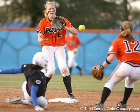 photo by Tim Casey<br /> <br /> Nicole Matson retires Michelle Moultrie on a fielder's choice by Aja Paculba during the second inning of the Gators' 10-5 win against the Pacific Tigers on Friday, February 27, 2009 at Katie Seashole Pressly Softball Stadium in Gainesville, Fla.