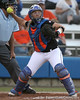 photo by Tim Casey<br /> <br /> Florida sophomore Tiffany DeFelice throws the ball to first base after a strikeout during the second inning of the Gators' 10-5 win against the Pacific Tigers on Friday, February 27, 2009 at Katie Seashole Pressly Softball Stadium in Gainesville, Fla.