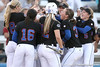 photo by Tim Casey<br /> <br /> Florida junior third baseman Corrie Brooks gets mobbed by teammates after hitting a solo home run during the second inning of the Gators' 10-5 win against the Pacific Tigers on Friday, February 27, 2009 at Katie Seashole Pressly Softball Stadium in Gainesville, Fla.