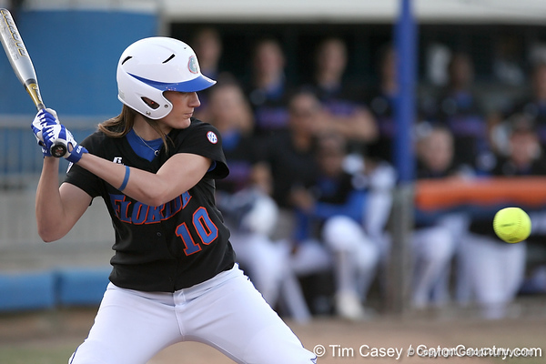 photo by Tim Casey<br /> <br /> Florida junior left fielder Francesca Enea bats during the first inning of the Gators' 10-5 win against the Pacific Tigers on Friday, February 27, 2009 at Katie Seashole Pressly Softball Stadium in Gainesville, Fla.