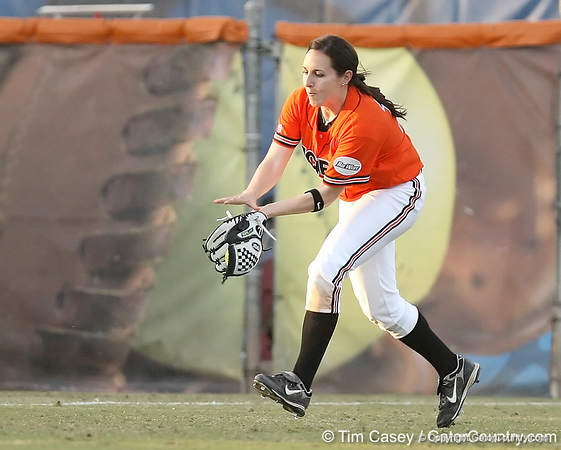photo by Tim Casey<br /> <br /> Lauren Weyman catches a fly ball hit by Kim Waleszonia during the second inning of the Gators' 10-5 win against the Pacific Tigers on Friday, February 27, 2009 at Katie Seashole Pressly Softball Stadium in Gainesville, Fla.