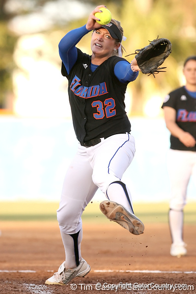 photo by Tim Casey<br /> <br /> Florida sophomore pitcher Stephanie Brombacher warms up during the first inning of the Gators' 10-5 win against the Pacific Tigers on Friday, February 27, 2009 at Katie Seashole Pressly Softball Stadium in Gainesville, Fla.