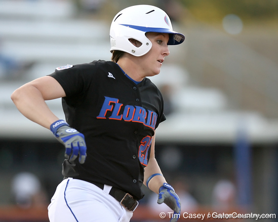 photo by Tim Casey<br /> <br /> Florida junior third baseman Corrie Brooks runs the base after hitting a solo home run during the second inning of the Gators' 10-5 win against the Pacific Tigers on Friday, February 27, 2009 at Katie Seashole Pressly Softball Stadium in Gainesville, Fla.