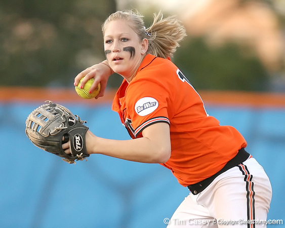 photo by Tim Casey<br /> <br /> Nicole Matson looks to throw to first base on a fielder's choice by Aja Paculba during the second inning of the Gators' 10-5 win against the Pacific Tigers on Friday, February 27, 2009 at Katie Seashole Pressly Softball Stadium in Gainesville, Fla.