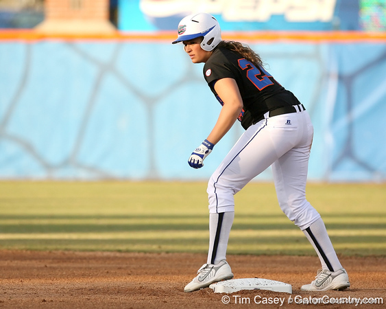 photo by Tim Casey<br /> <br /> Florida senior first baseman Ali Gardiner prepares to leave second base during the first inning of the Gators' 10-5 win against the Pacific Tigers on Friday, February 27, 2009 at Katie Seashole Pressly Softball Stadium in Gainesville, Fla.
