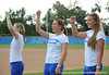 Senior center fielder Kim Waleszonia, senior catcher Kristina Hilberth, senior pitcher Stacey Nelson cheer while standing on the field of Katie Seashole Pressly Stadium in Gainesville, Fla. on Wednesday, June 3, 2009 after the teams' return from the College World Series in Oklahoma City. / Gator Country photo by Casey Brooke Lawson