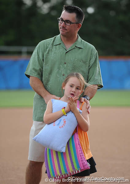 UF Head Coach Tim Walton stands on the field of Katie Seashole Pressly Stadium in Gainesville, Fla. on Wednesday, June 3, 2009 after the teams' return from the College World Series in Oklahoma City. / Gator Country photo by Casey Brooke Lawson