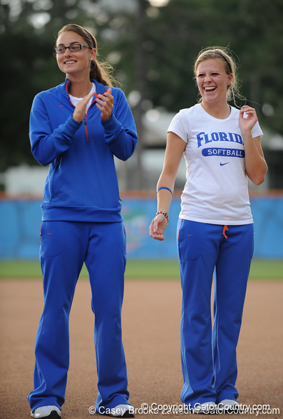 Senior Danyell Hines and sophomore Ami Austin clap while on the field of Katie Seashole Pressly Stadium in Gainesville, Fla. on Wednesday, June 3, 2009 after the teams' return from the College World Series in Oklahoma City. / Gator Country photo by Casey Brooke Lawson