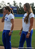 Senior catcher Kristina Hilberth stands next to senior pitcher Stacey Nelson during the softball teams' returns to Katie Seashole Pressly Stadium in Gainesville, Fla. on Wednesday, June 3, 2009. The team greeted the president of the university as well as fans after their loss to Washington in the finals of the College World Series. / Gator Country photo by Casey Brooke Lawson