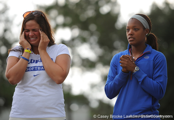 Senior first basemen Ali Gardiner clutches her head while Senior Le-Net Franklin holds her hands while the two stand on the field of Katie Seashole Pressly Stadium in Gainesville, Fla. on Wednesday, June 3, 2009 after the teams' return from the College World Series in Oklahoma City. / Gator Country photo by Casey Brooke Lawson
