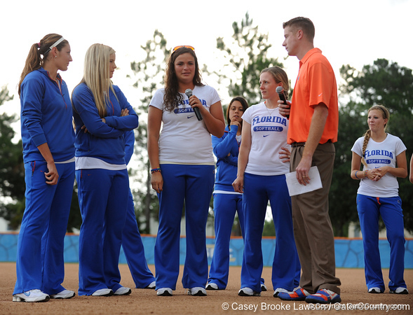 The University of Florida softball team returns to Katie Seashole Pressly Stadium in Gainesville, Fla. on Wednesday, June 3, 2009. The team greeted the president of the university as well as fans after their loss to Washington in the finals of the College World Series. / Gator Country photo by Casey Brooke Lawson