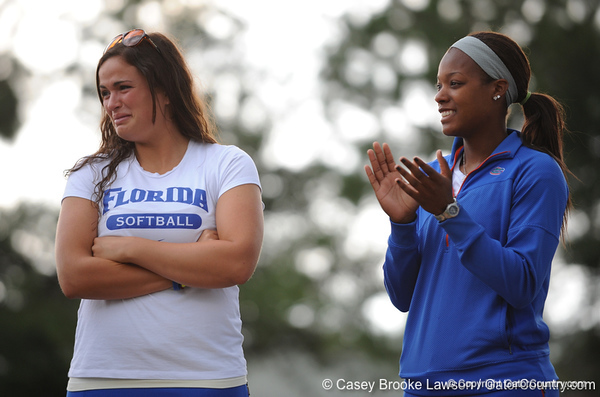 Senior first basemen Ali Gardiner cries and senior Le-Net Franklin claps while standing on the field of Katie Seashole Pressly Stadium in Gainesville, Fla. on Wednesday, June 3, 2009 after the teams' return from the College World Series in Oklahoma City. / Gator Country photo by Casey Brooke Lawson