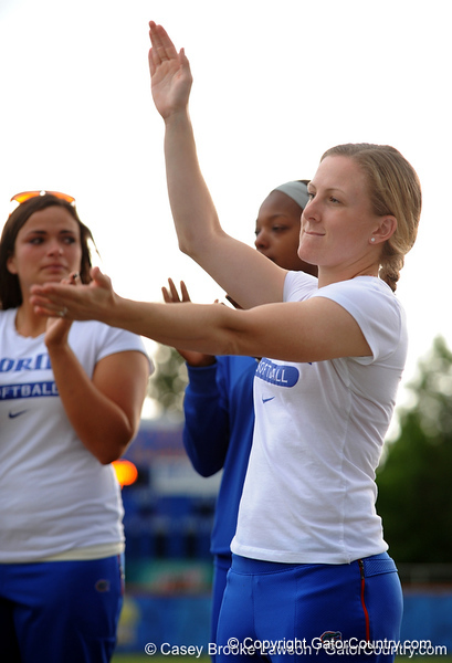 Senior Kim Waleszonia does the Gator chomp while standing on the field of Katie Seashole Pressly Stadium in Gainesville, Fla. on Wednesday, June 3, 2009 after the teams' return from the College World Series in Oklahoma City. / Gator Country photo by Casey Brooke Lawson