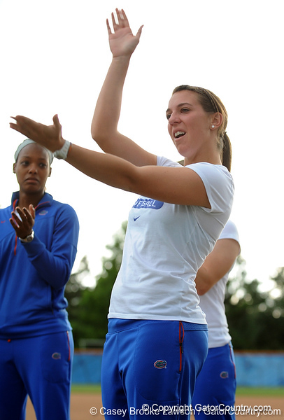 Senior catcher Kristina Hilberth does the Gator chomp while on the field of Katie Seashole Pressly Stadium in Gainesville, Fla. on Wednesday, June 3, 2009 after the teams' return from the College World Series in Oklahoma City. / Gator Country photo by Casey Brooke Lawson