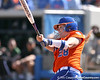 photo by Tim Casey<br /> <br /> Florida sophomore Tiffany DeFelice flies out to left field in the first inning during the Gators' 8-0 win against the Baylor Bears on Saturday, February 7, 2009 at Katie Seashole Pressly Softball Stadium in Gainesville, Fla.